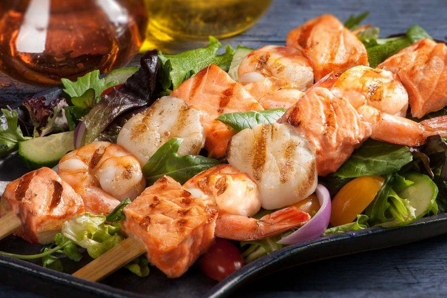 Seafood Trio Baby Greens Salad